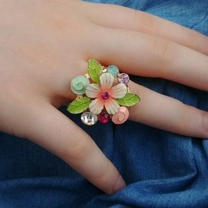 Jewelry - Colorful Enamel & Crystal Ring